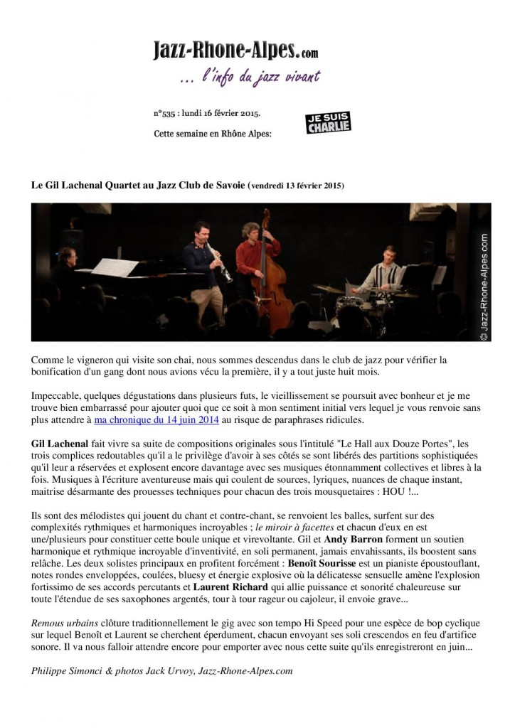 Jazz Rhône-Alpes 13 février 2015